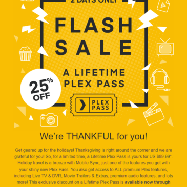 Plex Pass Lifetime 25% Off