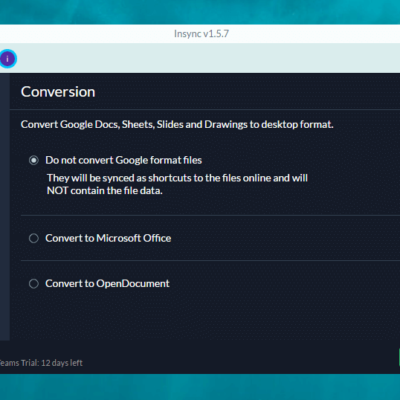 Insync Conversion Option Screen
