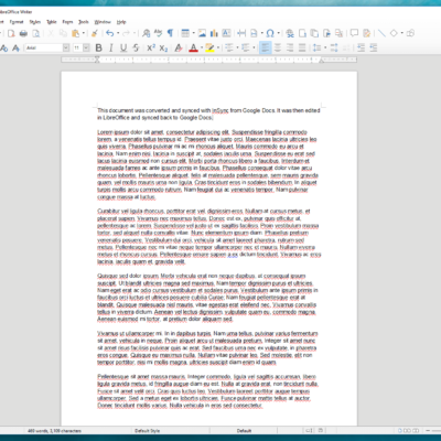 Editing Google Document in LibreOffice.